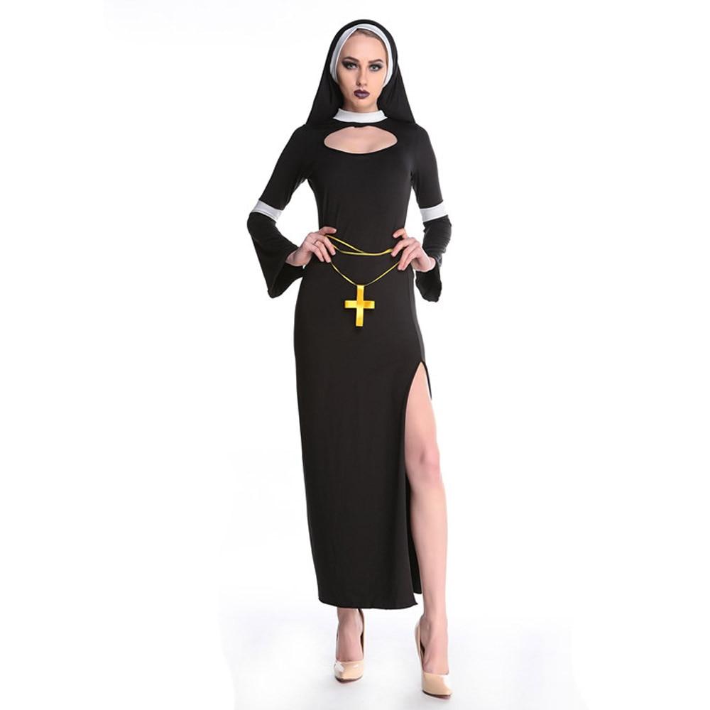 Roma black Catholic Nun adult gown costume