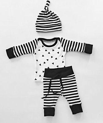 3PCS Newborn Baby Boy Girls Clothes Long Sleeve Cotton Deer T-shirt+Striped Pants Leggings+ Hat Outfits Cotton Clothing Set