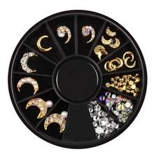 цена на DIY Gold Silver Nail Charms Metal Rivets Studs Rhinestones Crystal Nail Jewelry Wheel 3D Nail Art Decorations Accessoires NRD123
