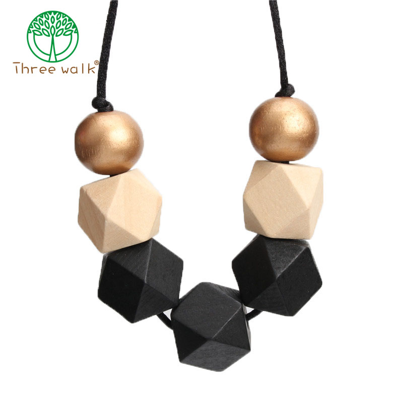 Geometric Necklace Cord-Statement Painted Wood Black Beads-Ball Faceted Chunky