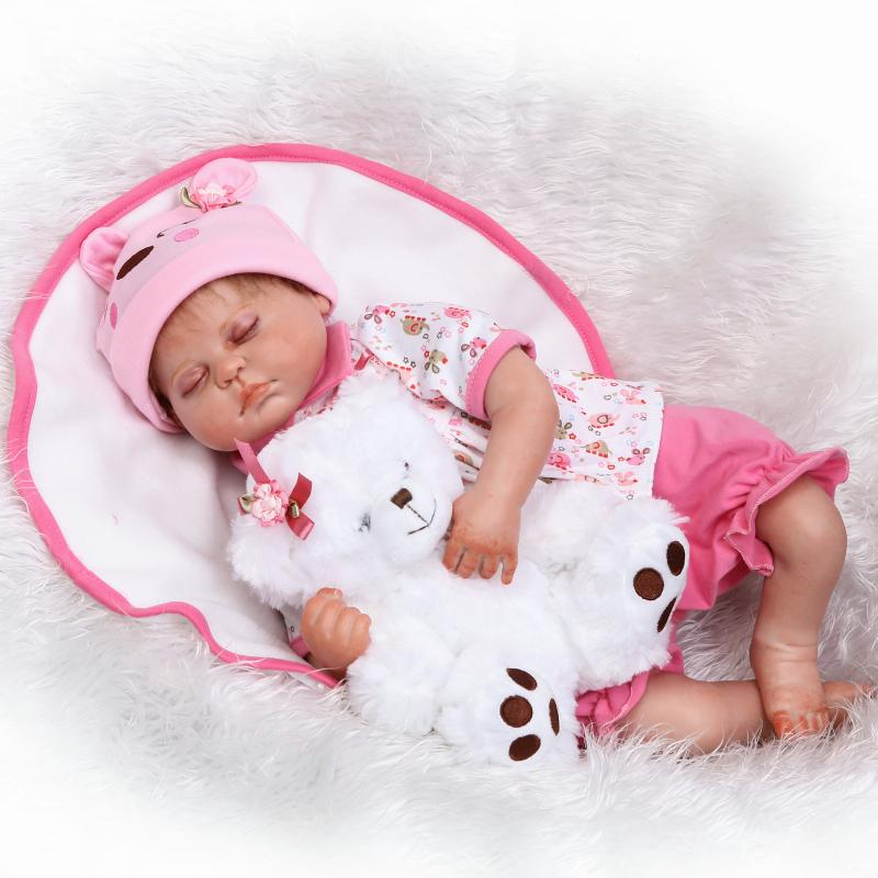 50cm Sleeping Baby Dolls Silicone Reborn Doll Pink Girl Toys Early Education Dolls Princess Birthday Gift Kid's Toys pink wool coat doll clothes with belt for 18 american girl doll