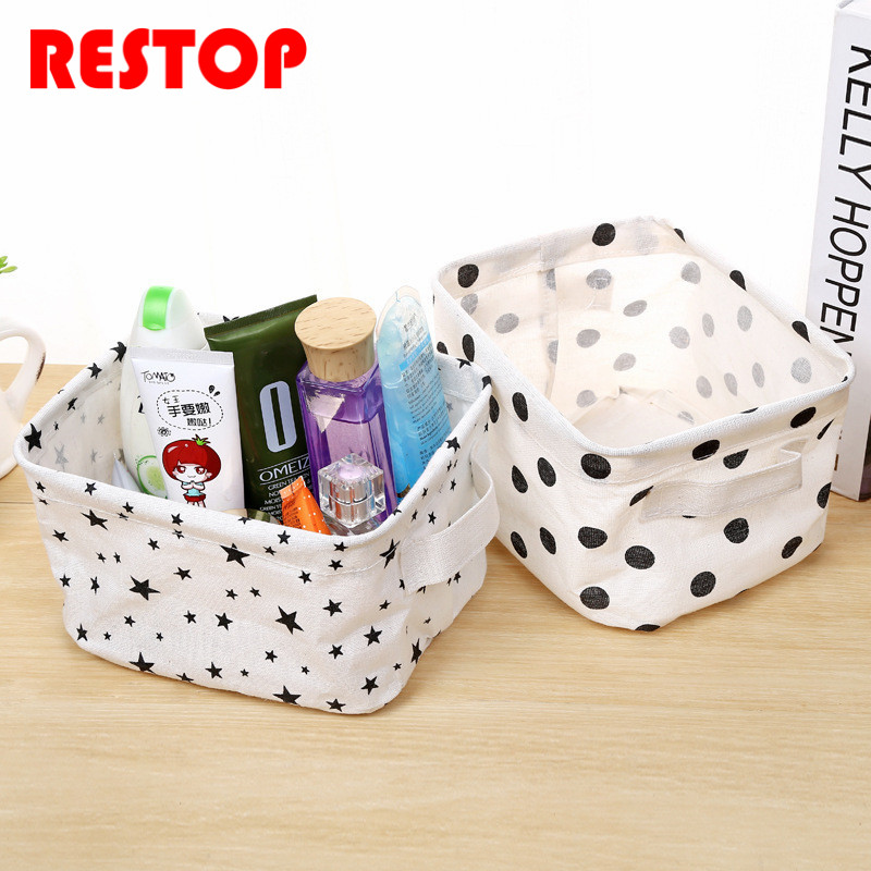Hot Sales European style Cotton Linen Desk Storage Box Holder Jewelry Cosmetic Stationery Organizer Case RES237