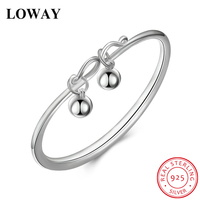 LOWAY Pure 925 Sterling Silver Bangles For Women Charm Adjustable Size Bangle Female Jewelry Wholesale SZ3868
