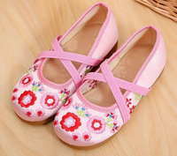 Girls Shoes Mary Jane Small Flower Embroidery Cross Band Chinese Traditional Shoes Vintage Dancing Shoes Flat