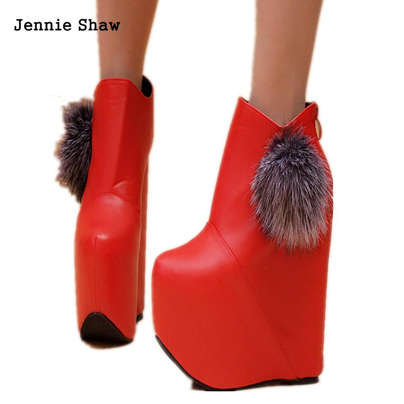 Zapatos Cm Botas Boda Otoño Cortas Negro Tacón Alto Los 17 Plataforma La Noche Sexy Tobillo Del rojo Señora Club De Manera 1w1qPx6
