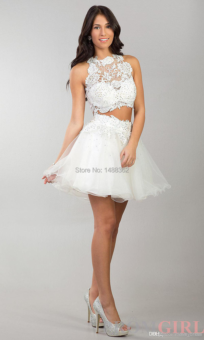 New 2014 white short lace graduation dresses two pieces above knee new 2014 white short lace graduation dresses two pieces above knee cocktail dresses for teenagers in cocktail dresses from weddings events on ombrellifo Gallery