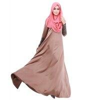 Elegant Women Kaftan Abaya Islamic Apparel Vogue Muslim Long Sleeve Maxi Dress