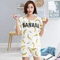 Hight Qualidade Verão Mulheres 100% Algodão Conjuntos de Pijamas das Mulheres Sleepwear Adorável Banana Impressão Feminino l Pijama Homewear Definido Em venda