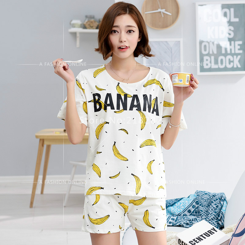 314475866e Hight Quality Summer Women 100% Cotton Pajamas Sets Women's Sleepwear  Lovely Banana Print Female l Pajamas Homewear Set On Sale-in Pajama Sets  from Women's ...