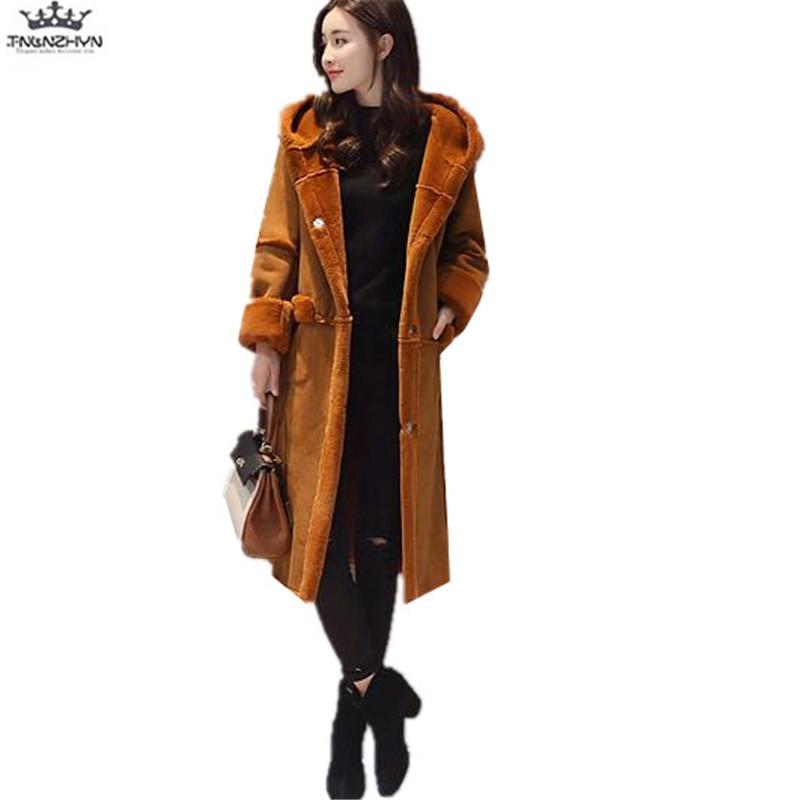 tnlnzhyn 2017 New Winter Women Coats Thick Suede Lambs Wool Coat Slim Hooded Coat Parkas Fashion Warm Coats Y738