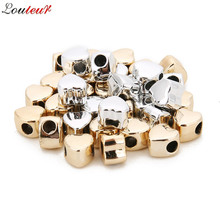 LOULEUR 12pcs/lot 7mm KC Gold/Rhodium Color Love Heart Shape Spacer Alloy Beads for Bracelet DIY Jewelry Making