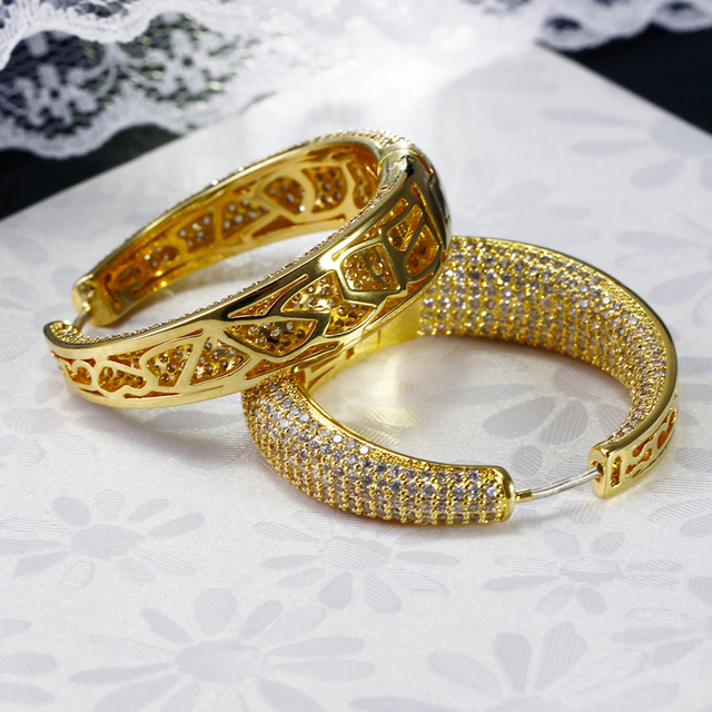 New  Gold Plated  Hoop Earrings AAA Cubic Zirconia Circle Earrings for women vintage jewelry