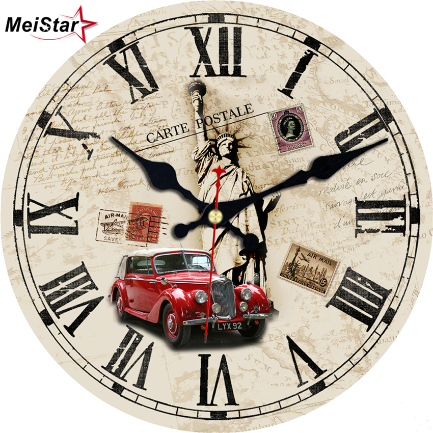 MEISTAR Statue Of Liberty Vintage Clocks Silent Antique Living Study Office Room Watches Home Decor Large Art Wall Clock