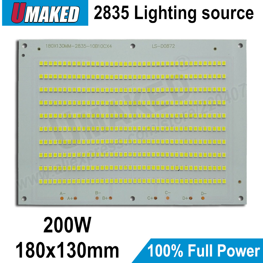 купить 100% Full Power LED Floodling PCB 200W, 180x130mm SMD2835 led PCB board, 20000lm lighting source for led floodlight по цене 4194.77 рублей