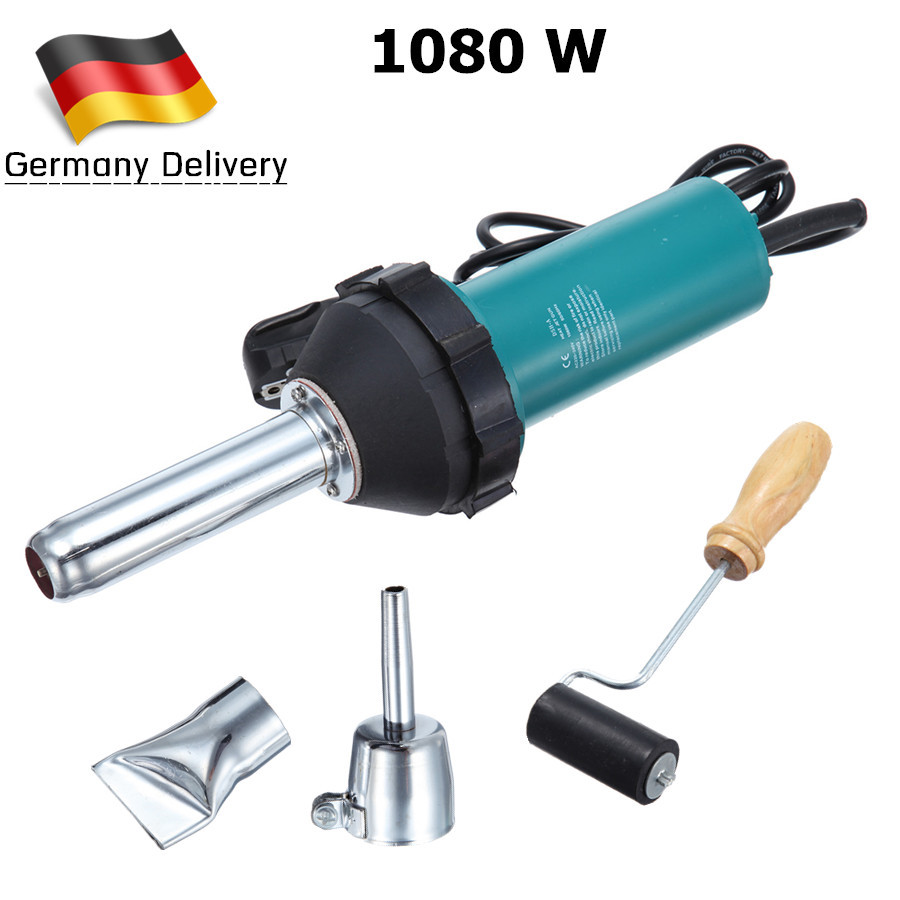 (Ship from Germany) 1080W Handheld Plastic Welding Gun Hot Air Torch Welder Gun PVC Vinyl Flooring Tools Heat Gun EU Plug ems dhl fast shipping bosite 220v 1000w plastic welder hot air gun welding heat gun rod gas vinyl welding equipment