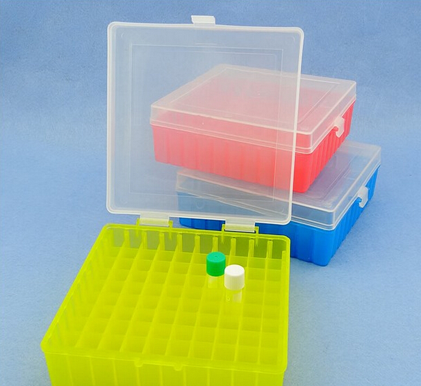 100 Holes Laboratory Plastic Tube Box Use For 2ml,1.5ml 1.8ml Cryopreservation Tube With Connection Cover
