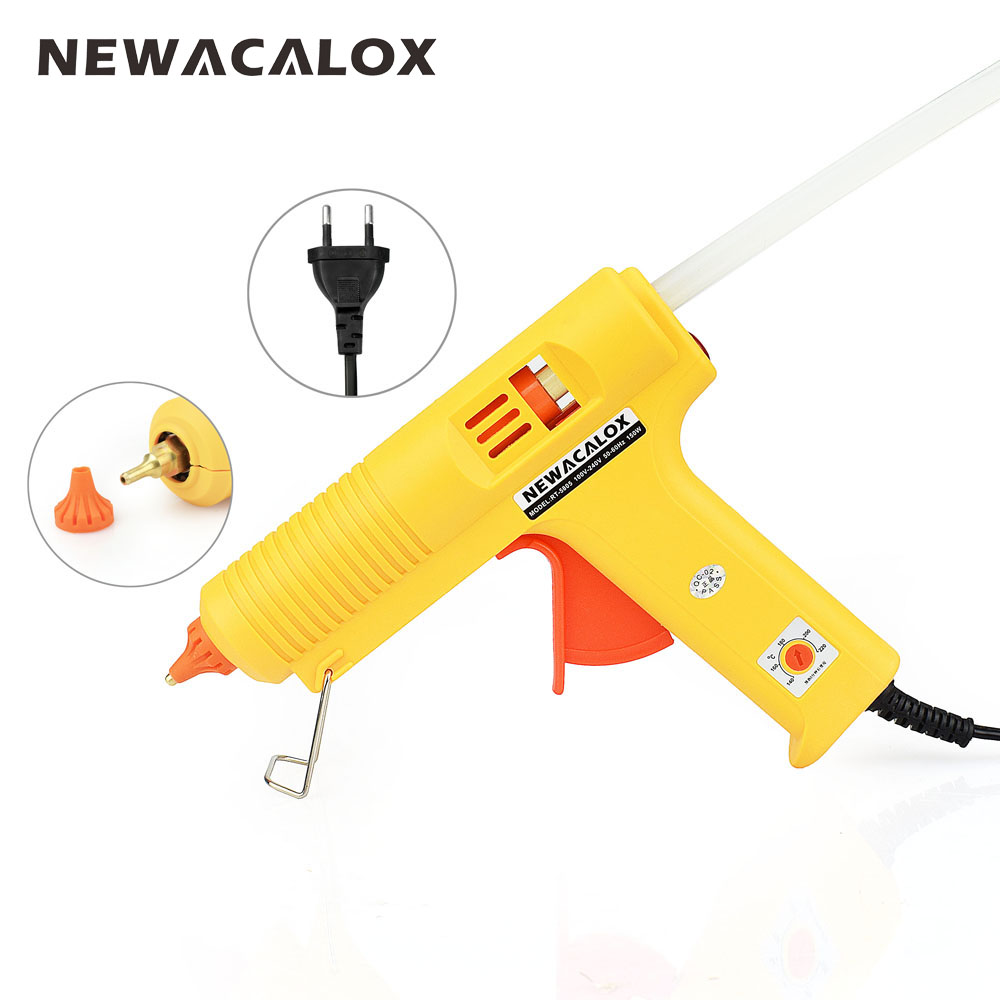 NEWACALOX Industrial 150W EU Plug Hot Melt Glue Gun with 1 pcs 11mm Stick Heat Temperature Tool Guns Thermo Gluegun Repair Tools newacalox industrial 150w eu plug hot melt glue gun with 1pc 11mm stick heat temperature tool guns thermo gluegun repair tools