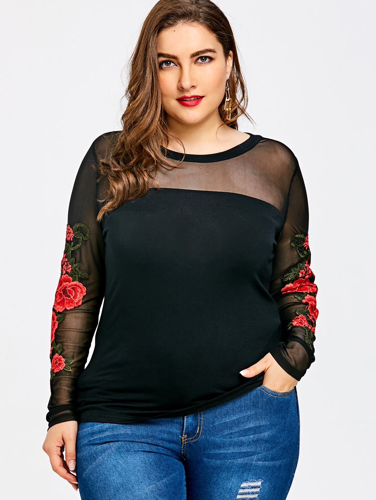 Wipalo Plus Size Embroidery Sheer Tops Shirts Women Tops -5165