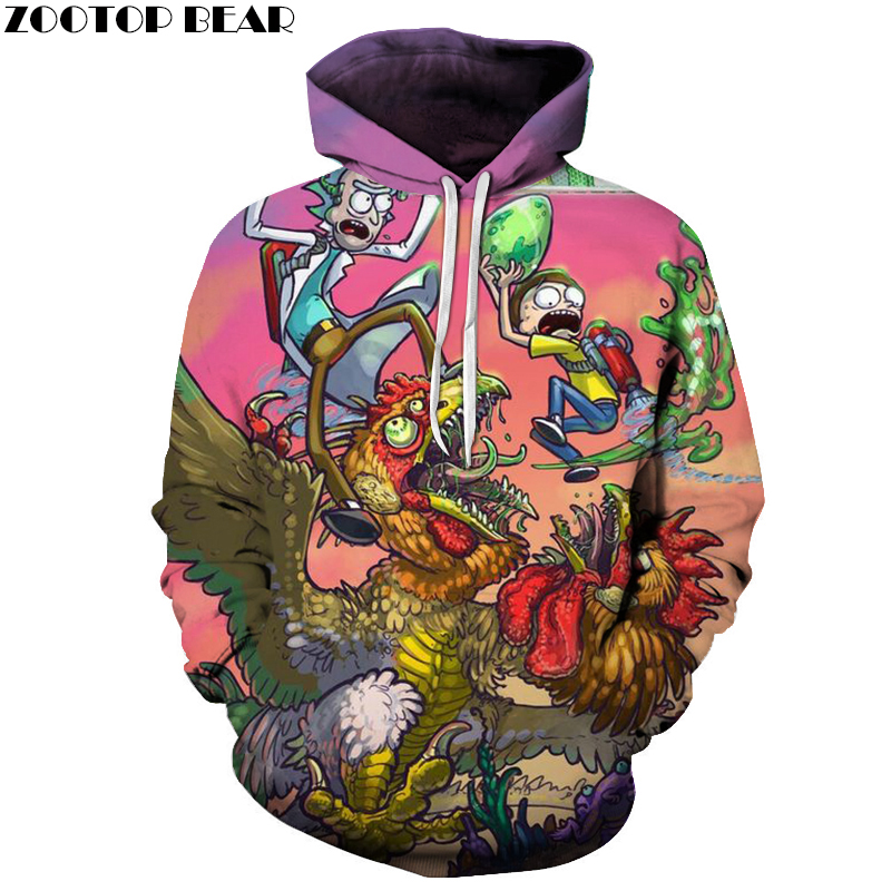Cartoon Hoodies Rick And Morty Hoody 3D Sweatshirts Mens Tracksuit Funny Pullover Male Hooded 6XL Streatwear Dropship ZOOTOPBEAR