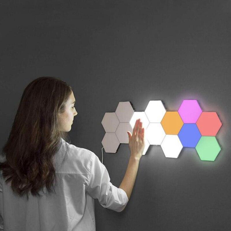 Colorful Quantum Lamp Led Hexagonal Lamps Modular Contact Sensitive Lighting Night Light Magnetic Hexagons Creative Decoration