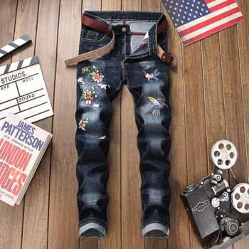 цена на 2019 Cotton jeans male ripped distressed brand fashion casual flowers embroidery homme denim trousers plus size 38 men jeans