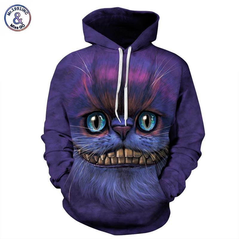 Mr 1991INC Autumn Winter Thin Stylish 3d Sweatshirts Men Women Hoodies With Hat Print Cheshire Cat