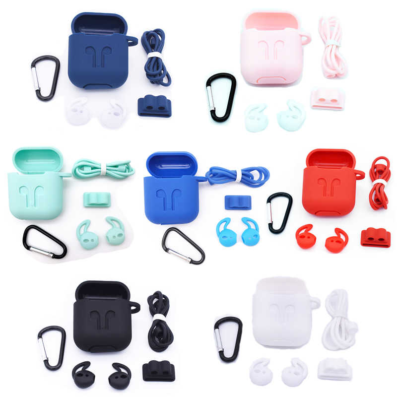 27215c24028 5 in 1 Silicone Case for Airpods Earphone wireless Bluetooth earphone  sleeve protector cover Shock Proof