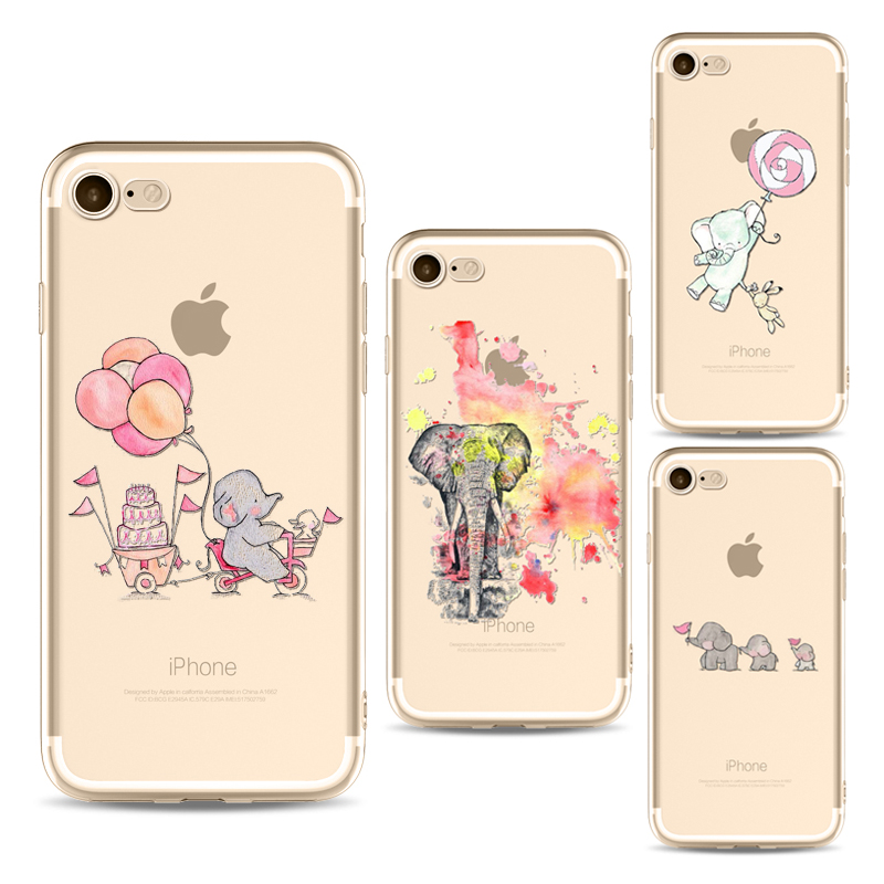 Elephant love Balloon phone Cases For Iphone 6 6s 6Plus 7 plus Soft Clear TPU Silicon Ultra-Thin Rabbit for iPhone 8 phone Cover