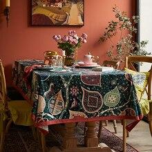 Mantel de lino floral de algodón Ruo Fu san mantel redondo de calentamiento de Casa de regalo redondo vintage rectangular mantel cubierta de tela de boda