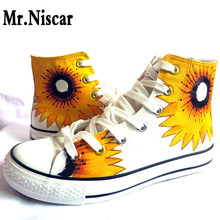 LEO Sunflower Women Hand Painted Canvas Shoes Hi Top Lace Up Style Breathable Flat Shoe for