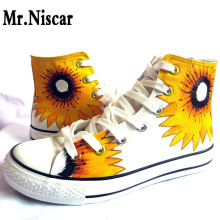 LEO Sunflower Women Hand Painted Canvas Shoes Hi-Top Lace-Up Style Breathable Flat Shoe for Female Flowers Graffiti Casual Shoes