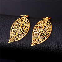 Vintage Earrings For Women Leaves Shape 18K Gold Platinum Plated Drop Earrings Fashion Jewelry Wholesale Hollow