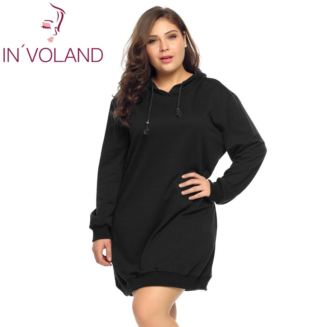 IN VOLAND Oversized 5XL Women s Hoodies Hooded Dress Autumn Solid Pullover Casual  Loose Fit Pullovers ba7a6d1521d2
