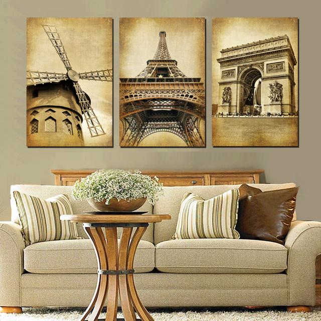 Home Decor Paintings 3 Panel Classic Paris Oil Painting On Canvas Wall Pictures Large Landmark Building