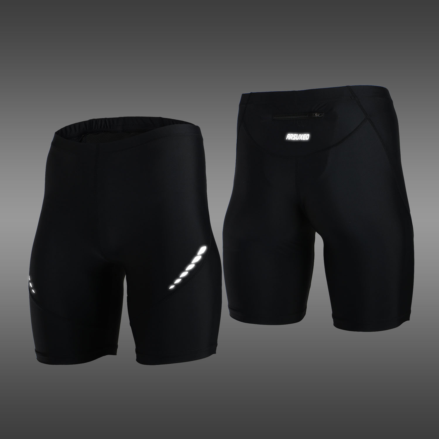 Pro Menns løpebukser Kort Reflekterende Hurtig Tørr Elastisk Sports Leggings Kompresjons Gym Fitness Shorts Summer Sweatpants