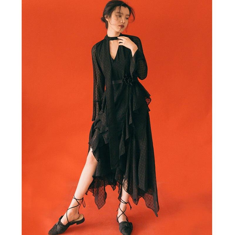 vintage black chiffon dress polka dot midi inregular v neck flare sleeve 2019 summer mesh long