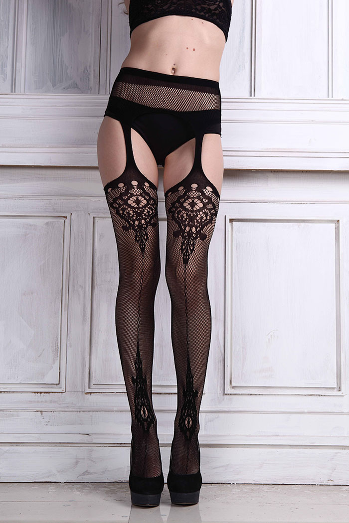 05d8dfe5c73ed 2019 Fashion Sexy Womens Lingerie Net Lace Top Garter Belt Thigh Stocking  Pantyhose Stocking Bel Black Acrylic Hot Sale Drop Shipping #419790 From ...