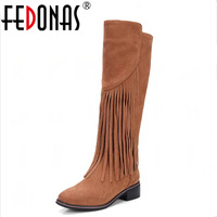 FEDONAS Women Genuine Leather Boots Autumn Winter Warm Sexy Knee High Motorcycle Boots Tassels Full Suede