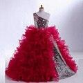 Vestido de um ombro lantejoulas Purrfy saia Vestidos de Daminhas de Honra flor meninas Vestidos crianças vestido de baile