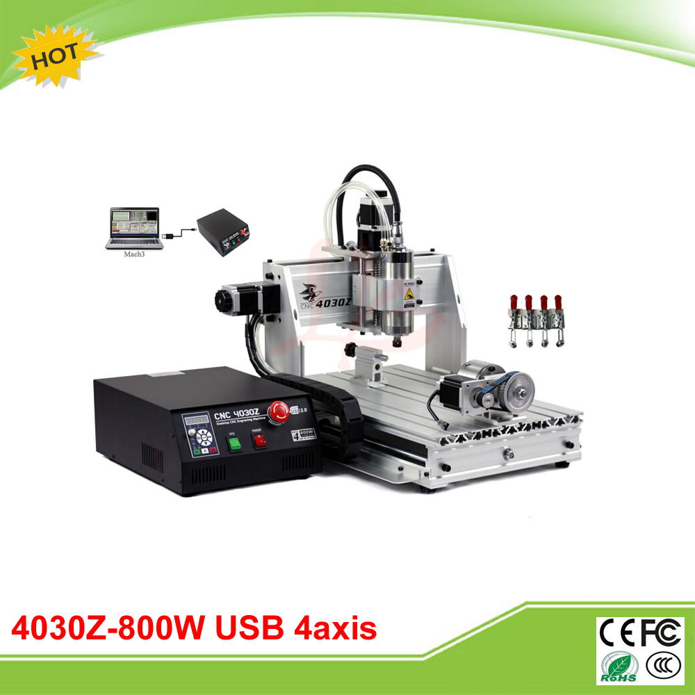 New 4030Z-800W/USB 4 axis mini CNC milling machine with USB port and rotation axis free tax to Russia free shipping 800w 4 axis cnc engraver engraving machine cnc 4030z with usb port 3040