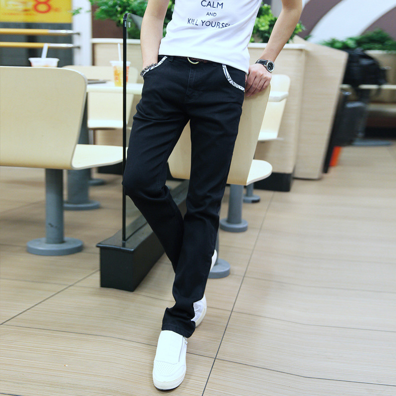 Spring Summer New Classic Blue Black Denim Pencil Pants Men Slim Fit Brand Trousers Male 2017 High Quality Cotton  Jeans Homme