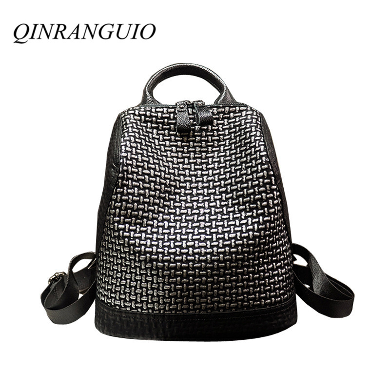 QINRANGUIO Women Backpack 2019 New Design Leather Backpack 100% Genuine Leather Travel Backpack School Bags for Teenage Girls QINRANGUIO Women Backpack 2019 New Design Leather Backpack 100% Genuine Leather Travel Backpack School Bags for Teenage Girls