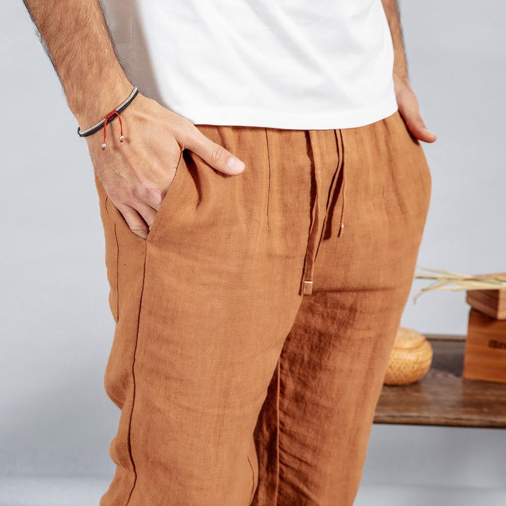 Image 4 - SIMWOOD 2020 spring 100% pure linen ankle length pants men cool  elasticated waistband drawstring plus size trousers male 190095Skinny  Pants