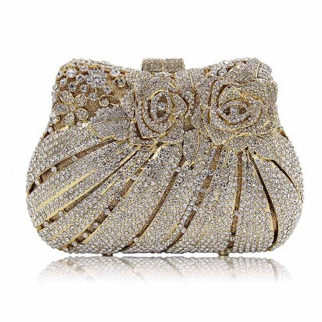 Exquisite Rhinestone Decor Retro Women Evening Handbags Wedding Two Side Crystal Clutch Vintage Bags