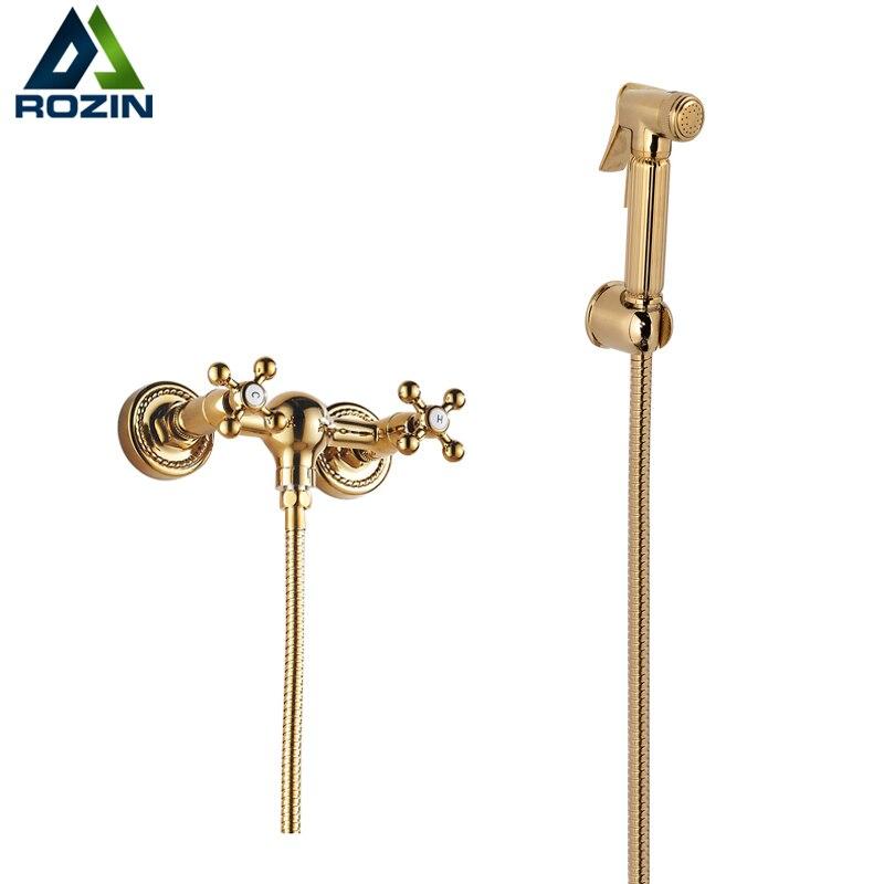 Deluxe European Style Dual Handles Handheld Bidet Faucet Wall Mount Golden Hot and Cold Sprayer Gun golden goose deluxe brand повседневные брюки