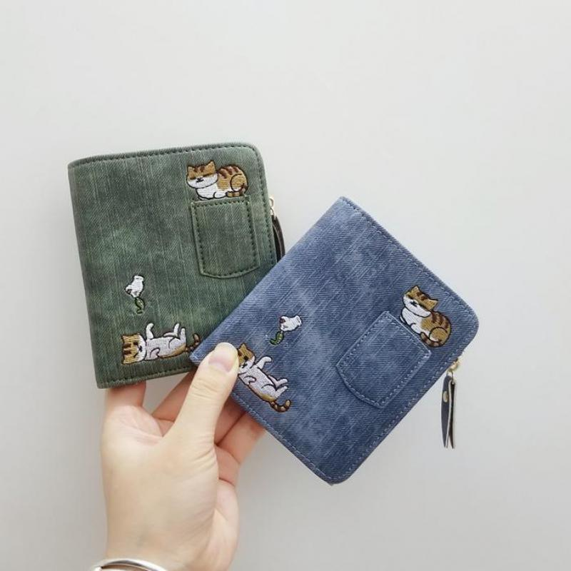 Embroidered Cat Wallet Small Zipper Coin Purse Bag Short Designed Cartoon Wallet Female Ladies Coin Wallet Mini Card Holders
