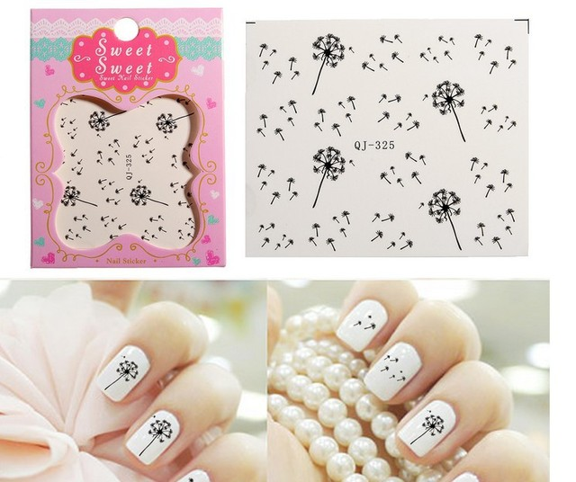 20sheets Lot Decals Manicure Dandelion Seeds Fly Premium Water Transfer Printing Nail Stick Art