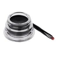 1 Set Fashion Women Black Eyeliner Waterproof Long Lasting Eye Liner Gel+Brush Tattoo Gel Makeup Set Makeup