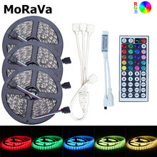 12V Flexible LED Strip SMD 5050 Non waterproof LED Diode Tape 5M 10M 15M LED Rope Light+44key RGB LED Controller For Christmas(China)