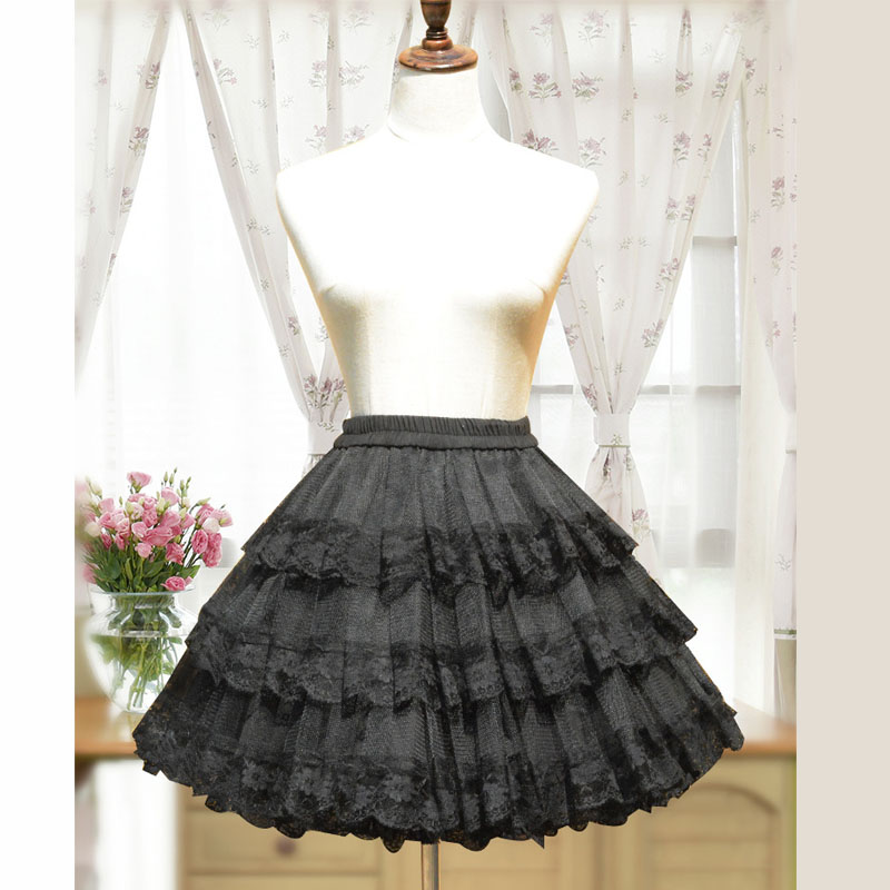 3 Layers Hoopless White/Black Lace Petticoat Women Short Petticoats A Line Underskirt Bridal Crinoline Petticoat 2019